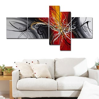 Hand Painted Abstract Gold and Yellow 5-piece Canvas Set