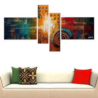 Textured Orange 4-piece Abstract Oil Painting on Canvas