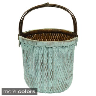 Franklin Handwoven Aqua Wicker Vegetable Basket