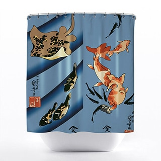 Stingray Ukiyo-e Print Shower Curtain