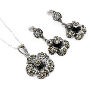 Sterling Silver Marcasite Earrings and Necklace