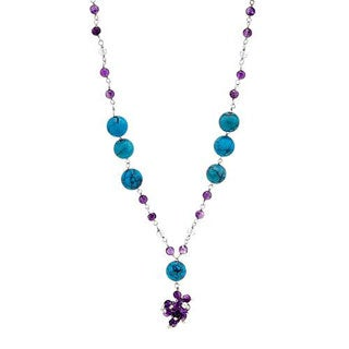 Necklace With 11.76ct TW Amethysts/ Crystals / Turquoises in 925 Sterling Silver