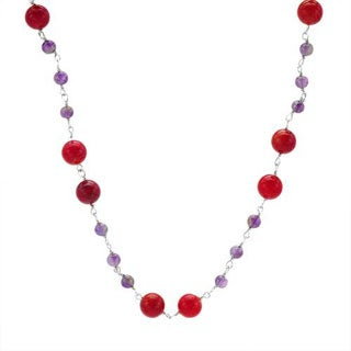 Necklace With 7.50ct TW Amethysts / Corals in 925 Sterling Silver