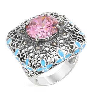 Cocktail Ring With 11.75ct TW Cubic zirconia / Marcasites in Blue Enamel / 925 Sterling Silver