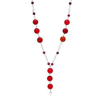 Necklace With 7.02ct TW Corals/ Crystals / Garnets in 925 Sterling Silver
