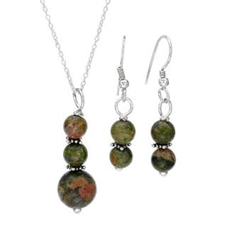 Jewelry Set Earrings with Unakites in 925 Sterling Silver