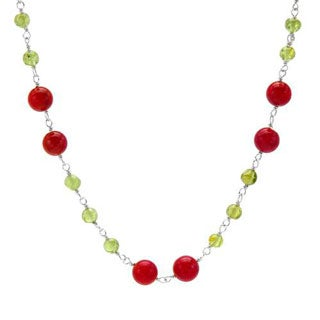 Necklace With 13.80ct TW Corals / Peridots Crafted in 925 Sterling Silver