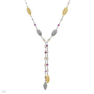 DV ITALY Necklace With 12.71ct TW Cubic zirconia / Created Rubies in 925 Sterling Silver