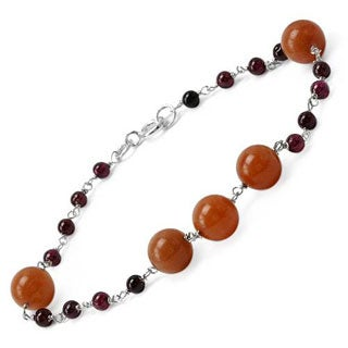 Bracelet With 26.00ct TW CARNELIANs / Garnets in 925 Sterling Silver