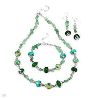 Jewelry set With 40 1/2ct TW Aventurines / Glass beads in Metal