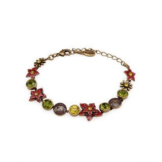Pilgrim Skanderborg Bronze-tone Metal Tri-tone Enamel Floral Bracelet with Yellow and Green Crystals