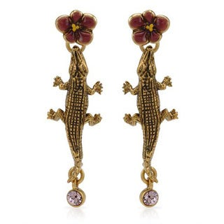Pilgrim Skanderborg Earrings with Crystals Yellow Metal/ Two-tone Enamel