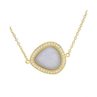 Chateau Dargent Golplated Silver Agate and Cubic Zirconia Pendant Necklace