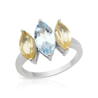 Three-stone Ring With 3.6ct TW Citrines / Topaz in .925 Sterling Silver