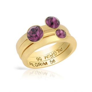 Pilgrim Skanderborg Yellow Metal Purple Crystals Ring