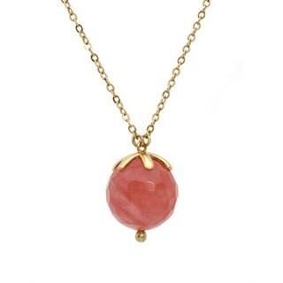 Pilgrim Skanderborg Goldtone Pink Gem Pendant Necklace