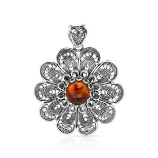 in Turkey Pendant With 1.3ct TW Amber Crafted in .925 Sterling Silver