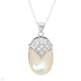 Necklace With 0.7ct TW Cubic zirconia / Mother of pearl in .925 Sterling Silver