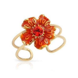 Pilgrim Skanderborg Toe Ring with Crystal in Yellow Metal/ Orange Enamel