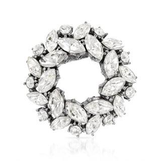 Pilgrim Skanderborg Silvertone Marquise-cut White Crystal Bunch Round Brooch