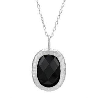 Chateau D'Argent Sterling Silver Black Cubic Zirconia Pendant Necklace