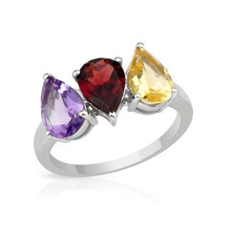 Three-stone Ring With 3 1/4ct TW Amethyst/ Citrine / Garnet in .925 Sterling Silver