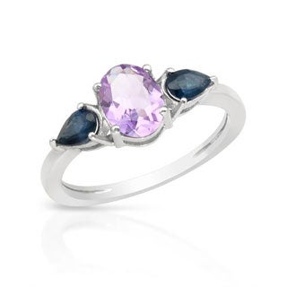 Ring with 1.73ct TW Amethyst/ Sapphires in 925 Sterling Silver