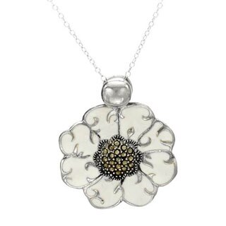 Necklace with Marcasites in White Enamel/ .925 Sterling Silver