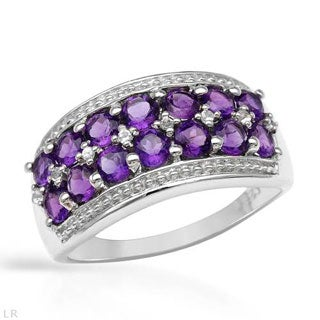 Sterling Silver Ring with 1.4ct Purple Amethysts/ White Topaz Ring