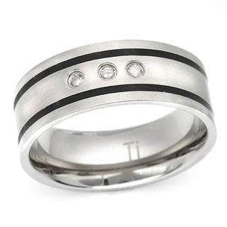 Men's Band Ring with Clean Diamonds in Titanium