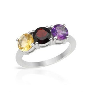 Ring with 2.53ct TW Amethyst/ Citrine/ Garnet .925 Sterling Silver