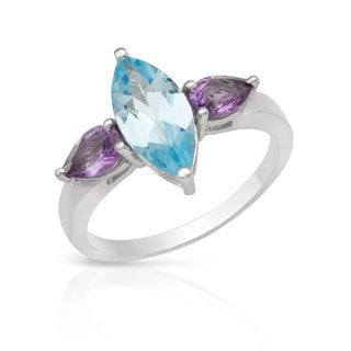 Ring with 2.68ct TW Amethysts/ Topaz of .925 Sterling Silver