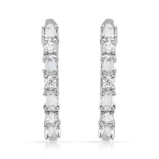 Sterling Silver Cubic Zirconia Hoops Earrings
