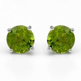Stud Earrings with 3.4ct TW Green Peridots in .925 Sterling Silver