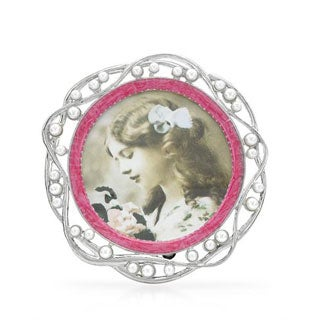 Metallic Pink Faux Pearl Frame