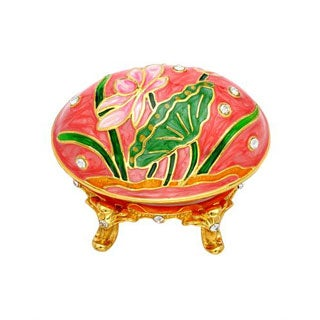 Multi-color Metal and Enamel Floral Jewelry Box