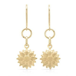 14K Gold Plated Sterling Silver Dangling Flower Earrings