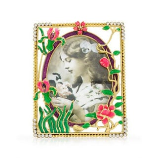 Yellow/ Multicolor Metal/ Enamel Floral Picture Frame