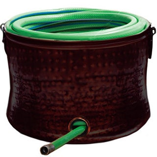 Brown Lacquer Hose Holder/ Storage Pot with Lid