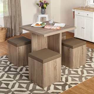 Simple Living 5-piece Baxter Dining Set with Storage Ottomans