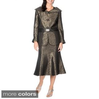 Mia-Suits Collection Women's Black/Steel Leopard Pattern Skirt Suit