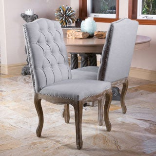 Christopher Knight Home Weathered Hardwood Studded Grey Dining Chair (Set of 2)