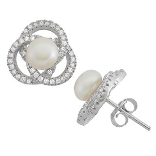 Sterling Silver Freshwater Pearl Love Knot Stud Earrings