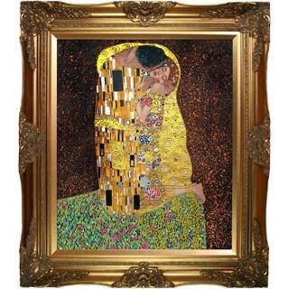 Gustav Klimt 'The Kiss (Full View - Luxury Line)' Hand-painted Framed Canvas-art