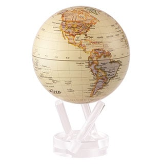 Antique Ocean Glossy 4.5-inch Solar Powered MOVA World Globe