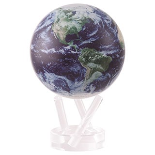 Satellite with Clouds 6-inch Solar Powered MOVA Desktop World Globe
