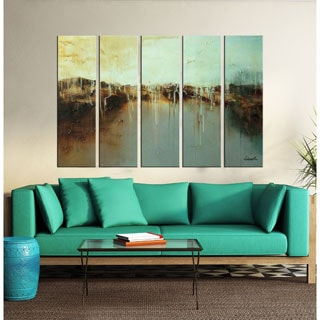 Morning Dew on the Lake' 5-piece Hand-painted Oil on Canvas Art