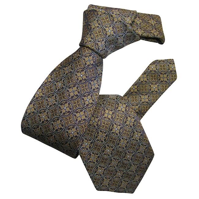 Dmitry Men's Beige Patterned Italian Silk Tie
