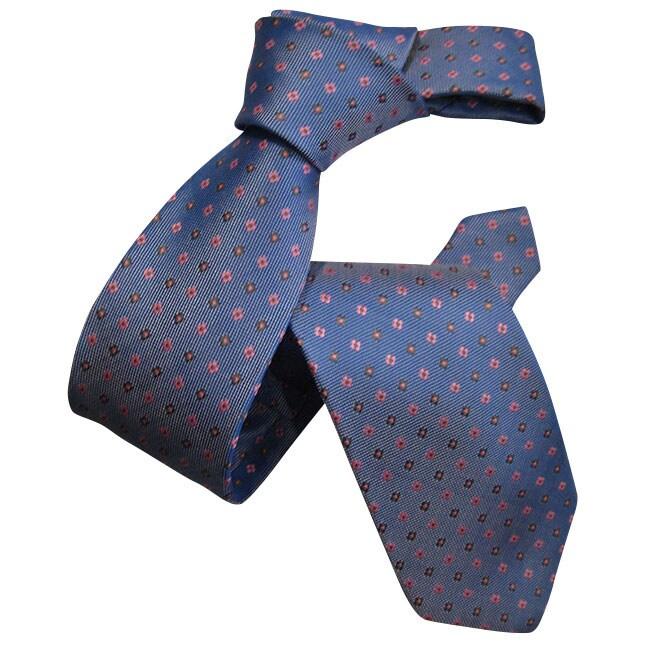 Dmitry Men's Light Blue Patterned Italian Silk Tie