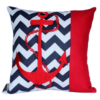 Auburn Textiles Decorative Cotton Pillow with Anchor Embroidery
